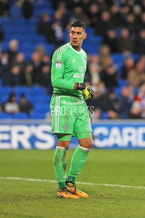 Cardiff City  Neil Etheridge (25) during the EFL Sky Bet Championship match between Cardiff City and Hull City at the Cardiff City Stadium, Cardiff, Wales on 16 December 2017. Photo by Gary Learmonth.