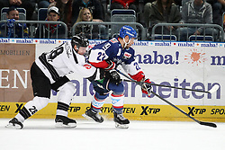 03.10.2014, SAP Arena, Mannheim, GER, DEL, Adler Mannheim vs Thomas Sabo Ice Tigers, 7. Runde, im Bild Steven Reinprecht (Thomas Sabo Ice Tigers) im Zweikampf mit Matthias Plachta (Adler Mannheim), Aktion / Action // during germans DEL Icehockey League 7th round match between Adler Mannheim and Thomas Sabo Ice Tigers at the SAP Arena in Mannheim, Germany on 2014/10/03. EXPA Pictures © 2014, PhotoCredit: EXPA/ Eibner-Pressefoto/ Neis<br /> <br /> *****ATTENTION - OUT of GER*****