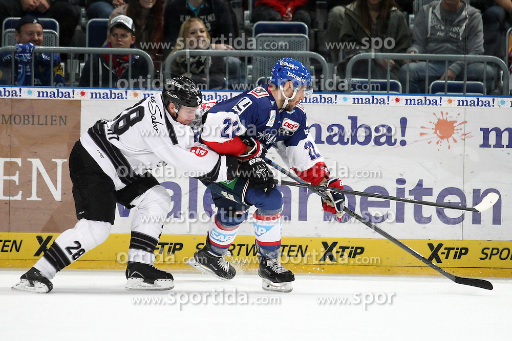 03.10.2014, SAP Arena, Mannheim, GER, DEL, Adler Mannheim vs Thomas Sabo Ice Tigers, 7. Runde, im Bild Steven Reinprecht (Thomas Sabo Ice Tigers) im Zweikampf mit Matthias Plachta (Adler Mannheim), Aktion / Action // during germans DEL Icehockey League 7th round match between Adler Mannheim and Thomas Sabo Ice Tigers at the SAP Arena in Mannheim, Germany on 2014/10/03. EXPA Pictures &copy; 2014, PhotoCredit: EXPA/ Eibner-Pressefoto/ Neis<br /> <br /> *****ATTENTION - OUT of GER*****