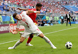 SAMARA, June 17, 2018  Dusan Tadic (front) of Serbia competes during a group E match between Costa Rica and Serbia at the 2018 FIFA World Cup in Samara, Russia, June 17, 2018. (Credit Image: © Fei Maohua/Xinhua via ZUMA Wire)