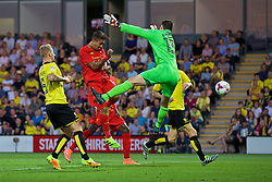 BURTON-UPON-TRENT, ENGLAND - Tuesday, August 23, 2016: Liverpool's Roberto Firmino scores the second goal against Burton Albion during the Football League Cup 2nd Round match at the Pirelli Stadium. (Pic by David Rawcliffe/Propaganda)