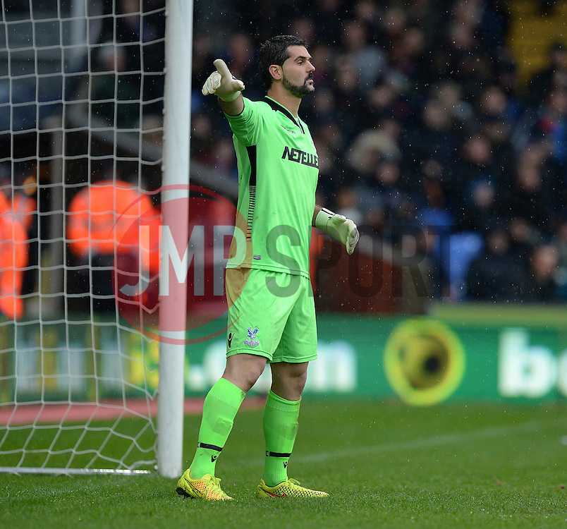 Crystal Palace's Julian Speroni gives his players directions. - Photo mandatory by-line: Alex James/JMP - Mobile: 07966 386802 - 23/11/2014 - Sport - Football - London -  - Crystal palace  v Liverpool - Barclays Premier League