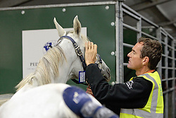 Easy Fontnoire of Miletto Mosti Cecile (FRA)<br /> Departure of the horses from Liege Airport to Lexington<br /> Alltech FEI World Equestrian Games - Kentucky 2010<br /> © Dirk Caremans
