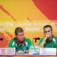 11 September 2008; Irish Paralympian Derek Malone, from Whitegate, Co. Clare, and team manager Paul Cassin, from Coolock, Dublin, at a Paralympic Council of Ireland Press Conference to address the issue of Malone being ruled ineligible to play in the 7-A-Side soccer competition by CP-ISRA (Cerebral Palsy International Sports and Recreation Association). The PCI called the conference as they have major concerns over the ruling. Beijing Paralympic Games 2008, Paralympic Council of Ireland Press Conference, Main Press Centre, Olympic Green, Beijing, China. Picture credit: Brian Lawless / SPORTSFILE *** NO REPRODUCTION FEE ***