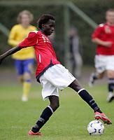 Fotball<br /> Landskamp G15<br /> Sverige v Norge 0:3<br /> Arvika<br /> 23.09.2010<br /> Foto: Morten Olsen, Digitalsport<br /> <br /> Kot Chol Nguen  -  Strømsgodset