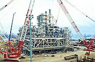 Construction of offshore platform near Baku, Azerbaijan.