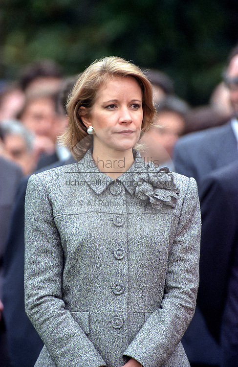 Colombian First Lady Nohra Pastrana during an arrival ceremony for her husband President Andres Pastrana on the South Lawn of the White House October 28, 1998 in Washington DC.