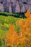 High Mesa bluffs on Owl Creek Pass in autumn; Uncompahgre National Forest, Colorado