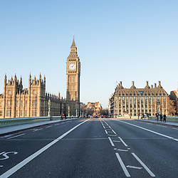 London, UK - 25 December 2014: no cars and very few tourists on Westminster Bridge on early Christmas morning.