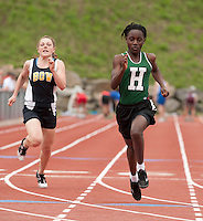 Katherine Bemis of Bow and Berthlyne Browne of Hopkinton compete in the 100 meter final during NHIAA Division III State Track Championships Saturday at Newfound High School.  (Karen Bobotas/for the Concord Monitor)