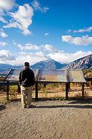 Tourist at Owens Valley Overlook from U.S. Highway 395, Eastern Sierra, California