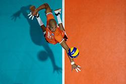 21-09-2019 NED: EC Volleyball 2019 Netherlands - Germany, Apeldoorn<br /> 1/8 final EC Volleyball / Nimir Abdelaziz #14 of Netherlands