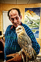 BURGUNDY, FRANCE - APRIL 01.Unique in France, an association led by a falconer trying to help the elderly to recall some memories of youth..Thanks to these birds, the elderly suffering from Alzheimmer regain some of their childhood memories, Down's syndrome and social misfits start again to communicate.