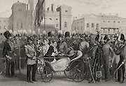 Queen Victoria distributing Crimean Medals at Horse Guards, London, 18 May 1856. She is presenting a medal to Sir Thomas Troubridge (1815-1867) who lost his right leg and left foot at Inkerman, and appointing him as her aide-de-camp. Crimean (Russo-Turkish) War 1853-1856.
