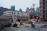 construction area in the evening in Shanghai China