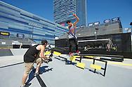 Nyjah Huston during Street League Skate Practice at 2013 X Games Los Angeles in Los Angeles, CA. ©Brett Wilhelm/ESPN