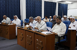 August 1, 2018 - Gaza City, Gaza Strip, Palestinian Territory - Members of the Palestinian legislative council from Hamas movement attend a meeting at the legislative council, in Gaza city, on Aug. 01, 2018  (Credit Image: © Mahmoud Ajour/APA Images via ZUMA Wire)