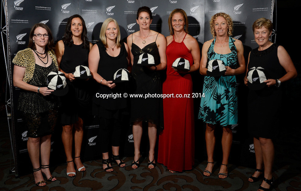 Historic Cap Presentations for hte White Ferns at the 2013/14 New Zealand Cricket Annual Awards dinner at the Langham Hotel in Auckland, New Zealand. Photo: Andrew Cornaga/www.Photosport.co.nz