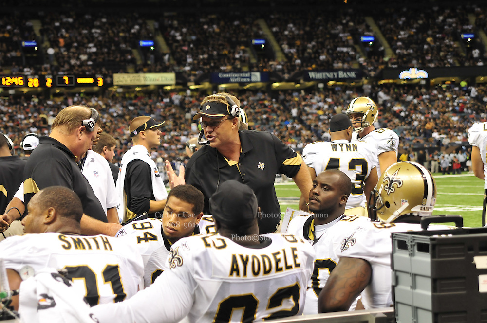 """File-Greg Williams, Defensive Coordinator for the New Orleans Saintshas been suspended indefiently from the NFL because of his """"bounty system"""" he had in place while coaching for the Saints during ht e2009,2010 & 2011 NFL seasons. Coach Sean Payton was suspended for one year and General manager Mickey Loomis was suspended for 8 games for thier roles in the """"Bounty scandal"""". File Photo of Defensive coach Greg Willams letting his defensive line know what to do during the Saints pre season game against the San Diego Chargers Friday Aug 27,2010. The San Diego charges cut Drew Brees a few years ago, allowing him to be picked uop by the Saints as a free agent. The Saints won 36-21 at half time.Photo© Suzi Altman According to an NFL investigation, from 2009 to 2011 the New Orleans Saints created an unseemly bounty system that rewarded defensive players for injuring opponents. The program, administered by Saints defensive coordinator Gregg Williams, financed by Saints players and strictly forbidden by the NFL, offered $1,000 for a hit that forced a player to be carted off to the sideline and $1,500 for one that knocked a player out of the game. PICTURED: Aug 27, 2010. GREGG WILLIAMS at the The Saints vs Chargers game in New Orleans..(Credit Image: © Suzi Altman According to an NFL investigation, from 2009 to 2011 the New Orleans Saints created an unseemly bounty system that rewarded defensive players for injuring opponents. The program, administered by Saints defensive coordinator Gregg Williams, financed by Saints players and strictly forbidden by the NFL, offered $1,000 for a hit that forced a player to be carted off to the sideline and $1,500 for one that knocked a player out of the game. PICTURED: Aug 27, 2010. GREGG WILLIAMS at the The Saints vs Chargers game in New Orleans. © Suzi Altman"""