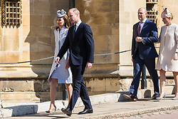 Windsor, UK. 21st April 2019. The Duke and Duchess of Cambridge and Mike and Zara Tindall arrive to attend the Easter Sunday service at St George's Chapel in Windsor Castle.