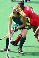 Lisa Deetlefs for RSA during the women's hockey match of the The Commonwealth Games between South Africa and Trinidad and Tobago held at the Stadium in New Delhi, India on the  October 2010..Photo by:  Ron Gaunt/SPORTZPICS/PHOTOSPORT