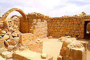 Governors house, Shivta (Sobota) is an archeological site in the Negev Desert of Israel, 49 Km southwest of beer sheva, east to Nizzana (Nitsana). Long considered a classic Nabatean town and terminal on the ancient spice route, archeologists are now considering the possibility that the town was actually a Byzantine agricultural colony and a way station for pilgrims en route to the Santa Catarina, Egypt, located on the supposed site of Mount Sinai. The new assessment of Shivta is based on an analysis of the irrigation system found at the site, which bears parallels to Byzantine structures elsewhere. Until now, the preponderance of Byzantine ruins were believed to be the remains of a monastic community that established itself on the ruins of an earlier Nabatean town. Shivta was declared a world heritage site by UNESCO on June 2005.