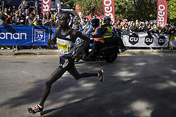 November 13, 2016 - Athens, Greece - Kenyan runner Lobuwan Luka Rotich approaches the finish line, while spectators encourage him, during the 34th Athens Authentic Marathon. Athens, November 13, 2016. (Credit Image: © Kostis Ntantamis/NurPhoto via ZUMA Press)
