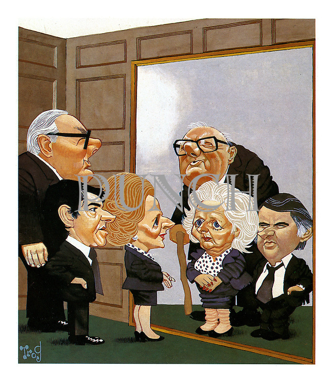 Punch magazine cartoon, December 19th 1979, showing the British party leaders Margaret Thatcher, James Callaghan and David Steel looking into a mirror and seeing their aged faces reflected back as they prepare for the future of a new decade, the 1980s.