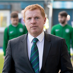 Neil Lennon (Hibernian Manager) arrives the Ladbrokes Championship match between Greenock Morton &amp; Hibernian at Cappielow Stadium on 8 April 2017<br /> <br /> Picture: Alan Rennie