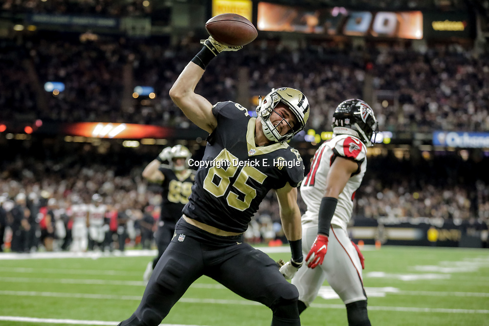 Nov 22, 2018; New Orleans, LA, USA; New Orleans Saints tight end Dan Arnold (85) celebrates after a touchdown against the Atlanta Falcons during the third quarter at the Mercedes-Benz Superdome. Mandatory Credit: Derick E. Hingle-USA TODAY Sports