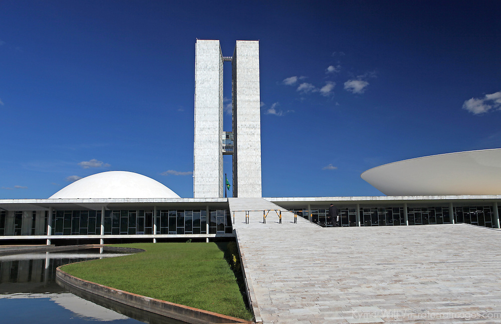 South America, Brazil, Brasilia. Brazil's National Congress buildlings in Brasilia, by architect Oscar Neimeyer, A UNESCO World Heritage Site.