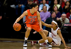 February 20, 2010; Stanford, CA, USA;  Oregon St. Beavers guard Haiden Palmer (22) is guarded by Stanford Cardinal guard Rosalyn Gold-Onwude (21) during the second half at Maples Pavilion.  Stanford defeated Oregon State 82-48.