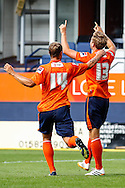 Fraser Franks of Luton Town (right) celebrates scoring his team's second goal to make it 2-0 during the Pre Season Friendly match at Kenilworth Road, Luton<br /> Picture by David Horn/Focus Images Ltd +44 7545 970036<br /> 26/07/2014