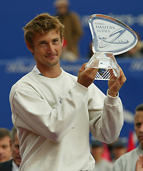 MONTE-CARLO, MONACO - Sunday, April 20, 2003: Juan Carlos Ferrero (Spain) with the Tennis Masters Monte-Carlo trophy after beating Guillermo Coria (Argentina) 6-2, 6-2 in the final of the Tennis Masters Monte-Carlo. (Pic by David Rawcliffe/Propaganda)