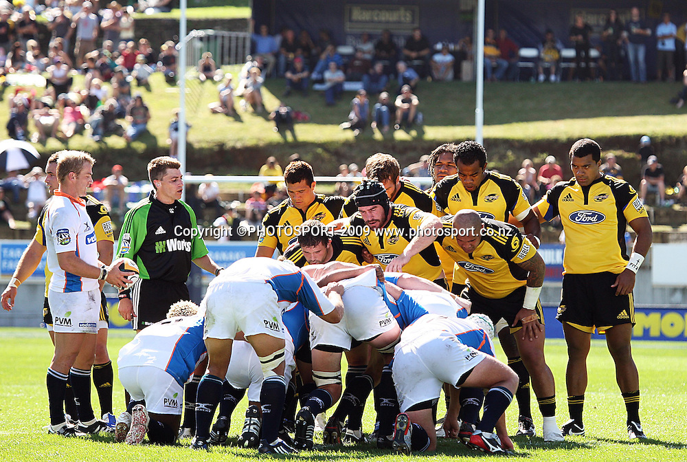 Hurricanes and All Blacks hooker Andrew Hore packs down for a scrum.<br /> Super 14 rugby union match, Hurricanes v Cheetahs at Yarrows Stadium, New Plymouth, New Zealand. Saturday 7 March 2009. Photo: Dave Lintott/PHOTOSPORT