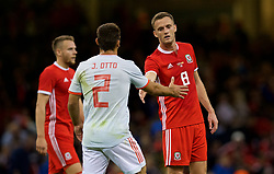 CARDIFF, WALES - Thursday, October 11, 2018: Wales' Andy King shakes hands with Spain's Jonathan Castro Otto 'Jonny' after the International Friendly match between Wales and Spain at the Principality Stadium. Spain won 4-1. (Pic by Laura Malkin/Propaganda)