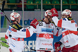 Team EC KAC celebrate during ice-hockey match between HDD Tilia Olimpija and EC KAC in 32nd Round of EBEL league, on December 28, 2010 at Hala Tivoli, Ljubljana, Slovenia. (Photo By Matic Klansek Velej / Sportida.com)