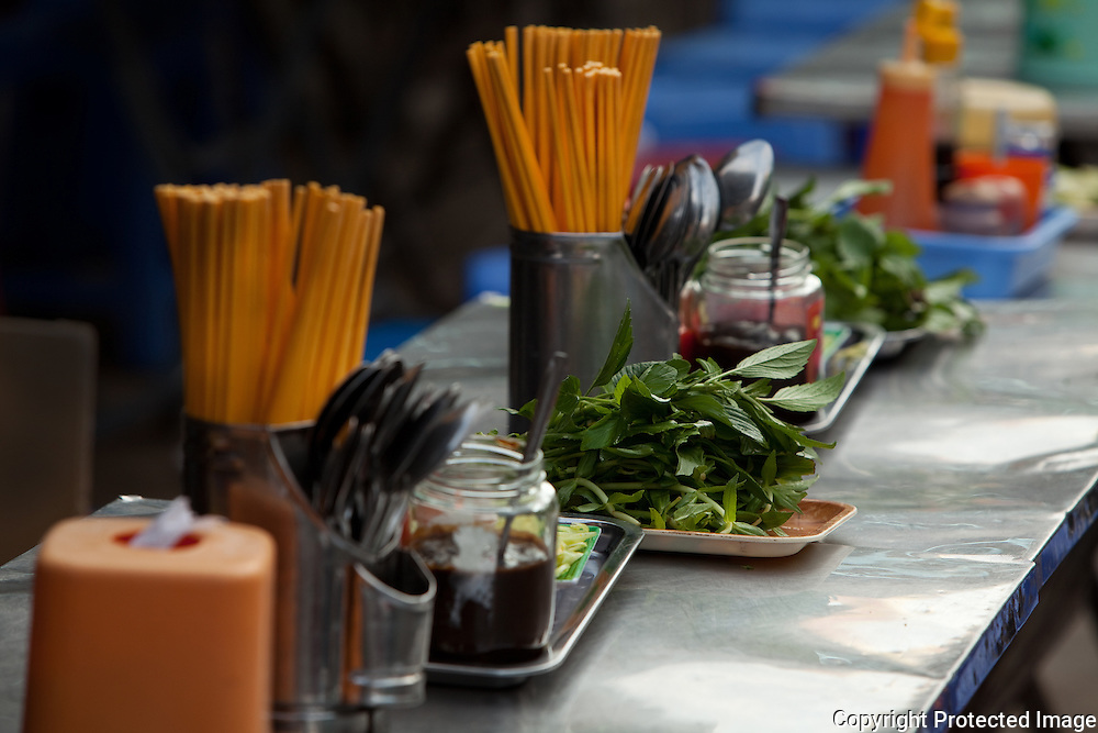 tables set for breakfast customers, ho chi minh city,vietnam
