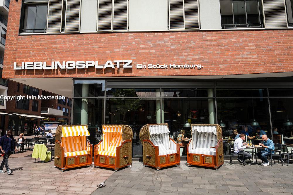 modern restaurant in new Uberseequaartier Hafencity property development in Hamburg Germany