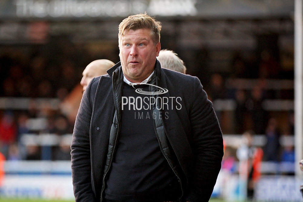 Oxford United's manager Karl Robinson can't believe the refs ruled his teams equaliser out during the EFL Sky Bet League 1 match between Peterborough United and Oxford United at London Road, Peterborough, England on 8 December 2018.