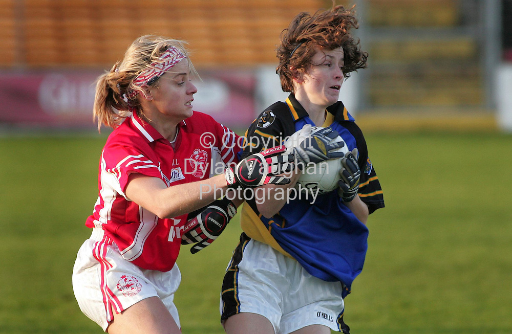 3/12/2006.Pictured in Action at the VHI Healthcare All Ireland Ladies Intermediate Club Championship Final in Nowlan Park in KIlkenny yesterday was Inch Rovers Amy O' Shea (left) and Naomh Mearnóg's Meave Redmond (right)..Picture Dylan Vaughan.
