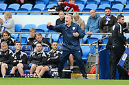 Neil Warnock, the Cardiff city manager gets frustrated on the touchline. EFL Skybet championship match, Cardiff city v Millwall at the Cardiff city stadium in Cardiff, South Wales on Saturday 28th October 2017.<br /> pic by Andrew Orchard, Andrew Orchard sports photography.
