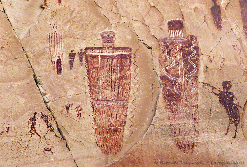 Indian fighters & flute player pictographs; High Gallery, Horseshoe Canyon, Canyonlands National Park, Utah