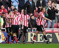 Photo: Andrew Unwin.<br />Sunderland v Barnsley. Coca Cola Championship. 21/10/2006.<br />Sunderland celebrate Dean Whitehead's goal.