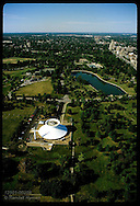Aerial of Forest Park with St Louis Science Center in foreground; view toward north. Missouri