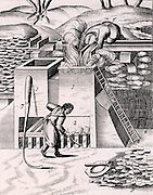 Roasting gold ore in order to recover the precious metal. From 1683 English edition of Lazarus Ercker 'Beschreibung allerfurnemisten mineralischen Ertzt- und Berckwercksarten' originally published in Prague in 1574. Copperplate engraving.