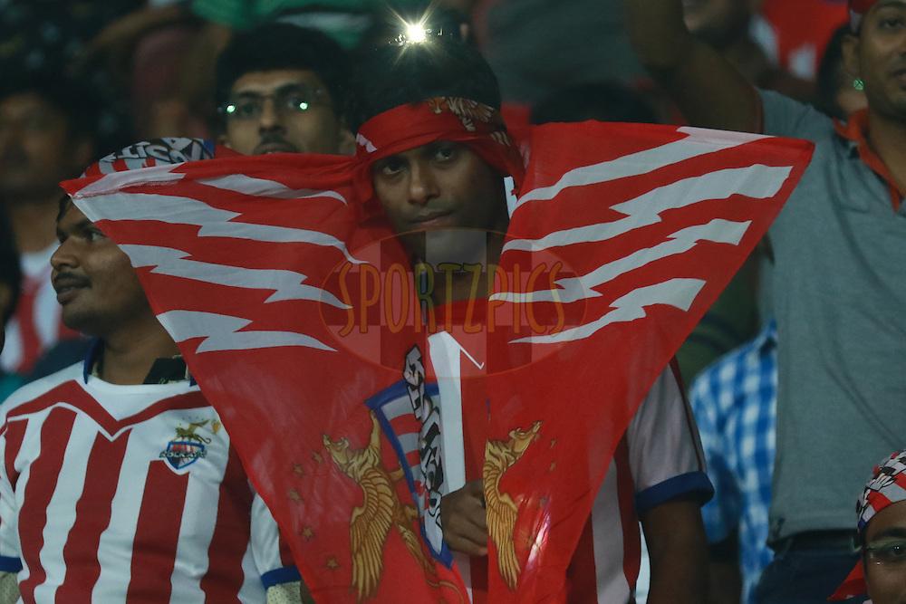 Fans during match 15 of the Indian Super League (ISL) season 3 between Atletico de Kolkata and FC Goa held at the Rabindra Sarobar Stadium in Kolkata, India on the 16th October 2016.<br /> <br /> Photo by Saikat Das / ISL/ SPORTZPICS