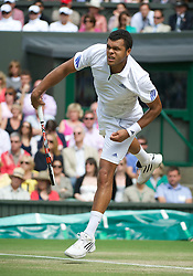 LONDON, ENGLAND - Wednesday, June 29, 2011: Jo-Wilfried Tsonga (FRA) in action during the Gentlemen's Singles Quarter-Final match on day nine of the Wimbledon Lawn Tennis Championships at the All England Lawn Tennis and Croquet Club. (Pic by David Rawcliffe/Propaganda)
