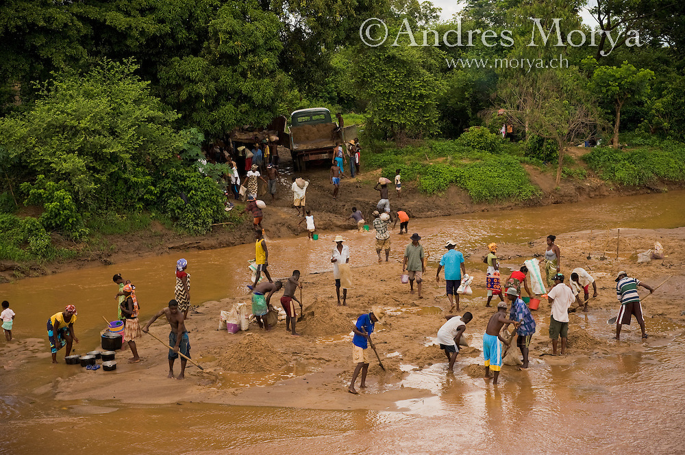 Malagasy people working in a river finding minerals, West Madagascar, Madagascar Image by Andres Morya