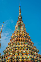 colorful chedi at Wat Pho temple Bangkok Thailand